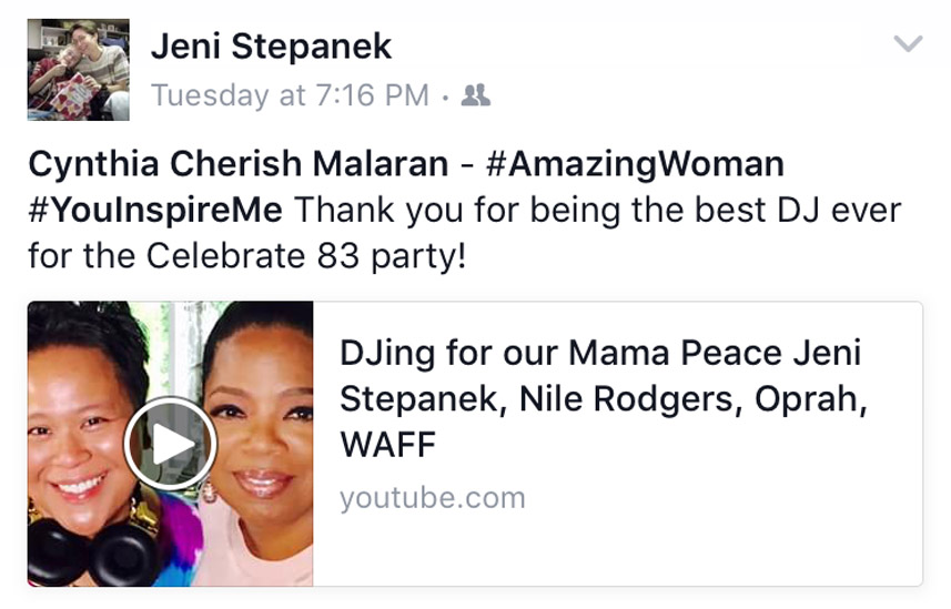Cynthia Cherish Malaran and Oprah